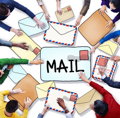 Aerial View of People and E-Mail Concept