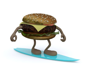 hamburger with arms and legs that surfing