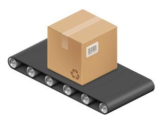 Boite en carton et tapis roulant vectoriels 1