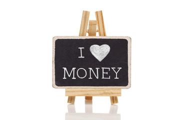 Love money handwritten with white chalk