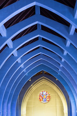 Blue Arches and Round Stained Glass