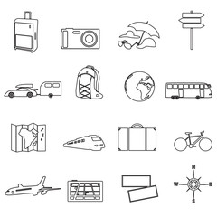travelling ana vacation transportation outline icons eps10