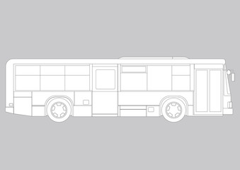 Bus, line drawing vector illustration