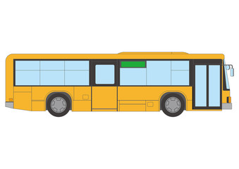 Yellow bus, line drawing vector illustration