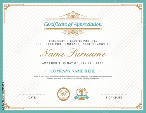 Vintage retro art deco frame certificate background template - 81710699