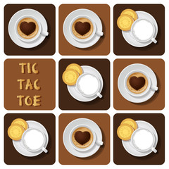 Tic-Tac-Toe of milk and cappuccino