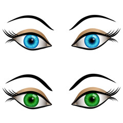 Blue and green female eyes