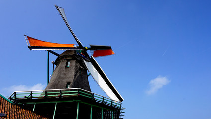 Windmills and blue sky in Zaanse Schans holland