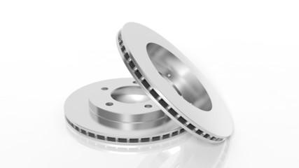 Car brake disks, isolated on white background