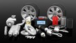 Leinwanddruck Bild - Various car parts and accessories, isolated on black background