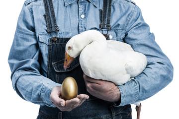 Farmer with golden egg