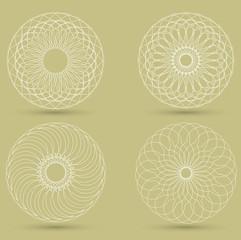vector modern white geometric shape, guilloche