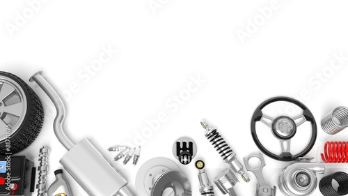 Leinwanddruck Bild Various car parts and accessories, isolated on white background