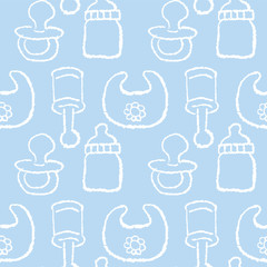 赤ちゃん パターン Baby boy concept- seamless pattern in blue