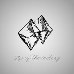 Tip of the iceberg, ice vector illustration