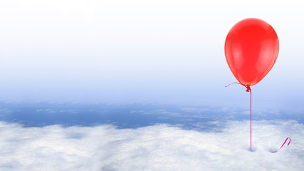 Red balloon on blue sky with white clouds, conceptual