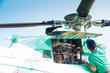 Leinwandbild Motiv Engineer maintaining a helicopter Engine