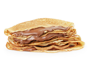 fresh hot blinis or crepes withc chocolate cream isolated on