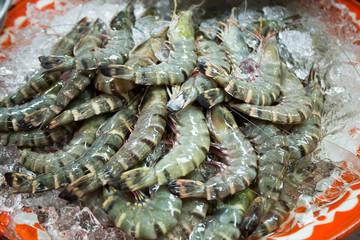 raw shrimp, Raw fish and prawn selling on ice in fresh market