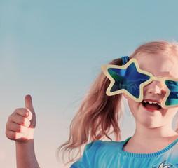 funny girl in big glasses