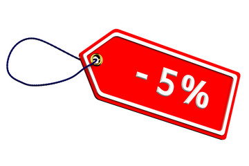 Discount five percentages tag