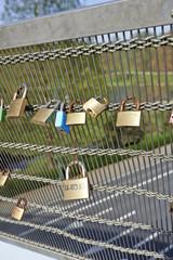 Love padlocks on bridge