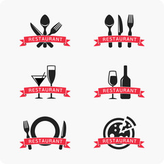 Restaurant icons, logo