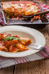 Lasagna with beef .Italian cuisine