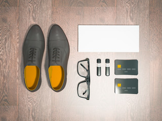 Every day carry man items collection: glasses, flash , shoes .
