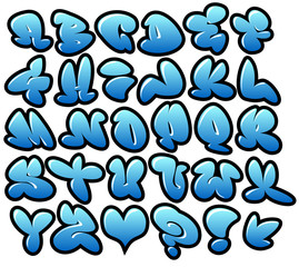 graffiti bubble blue vector fonts with gloss and outline