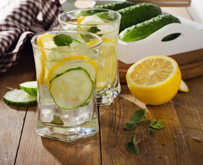 Fresh water with lemon, mint  and cucumber  on  wooden backgroun