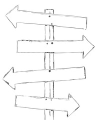 Drawing wooden signpost