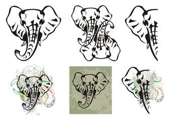 Elephant head symbols and elephant head splashes