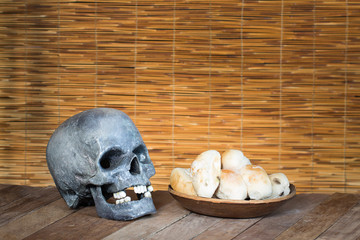 Skull and Mould on food. Bread with mildew. Rotten food, bread,