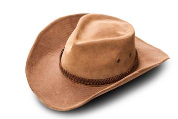 leather cowboy hat closeup