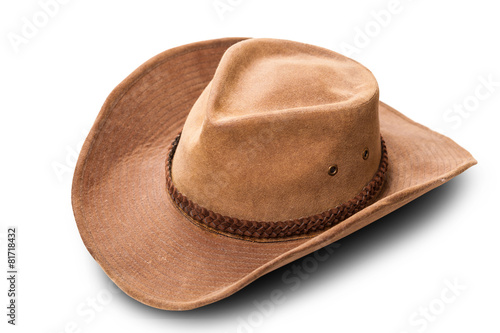 canvas print picture leather cowboy hat closeup