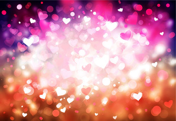 Pink and red  lights, bokeh hearts shapes, blurred background.