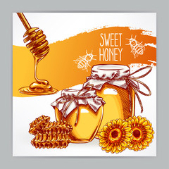 card with honey