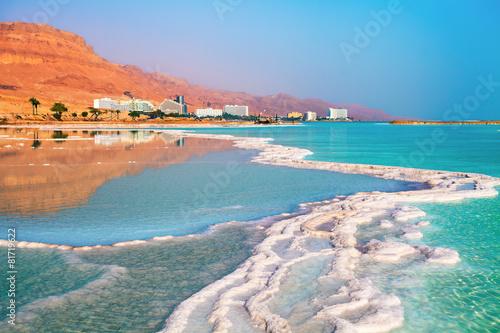 Fotobehang Midden Oosten Dead sea salt shore. Ein Bokek, Israel