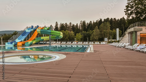 aqua park constructions in swimming pool - 81719639