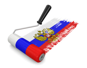 Paint roller with Russian flag (clipping path included)