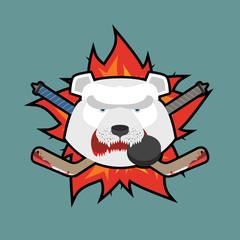 Bear Hockey Logo. Vector illustration