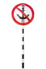 Mooring prohibited, round navigation sign isolated on white