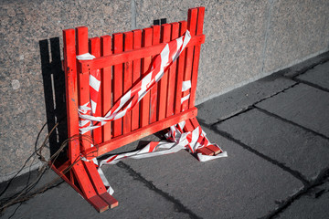 Red fence for under construction area border