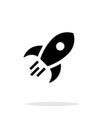 Rocket flies simple icon on white background.