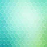 Fototapety Blue green hexagon pattern background with white outline