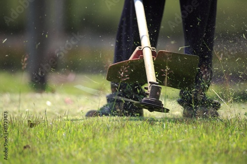The gardener cutting grass by lawn mower - 81723473