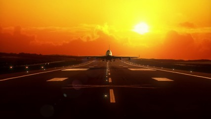 Airplane landing at sunset, beautiful very realistic animation.