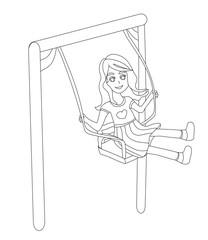 Happy girl on a swing.
