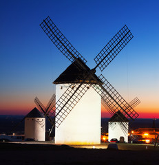 Group of  windmills at Campo de Criptana in sunset